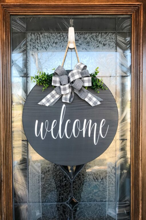 Gray Welcome Sign