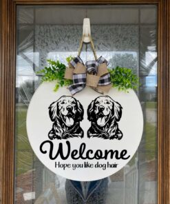 Golden Retriever and Golden Retirever Welcome Sign