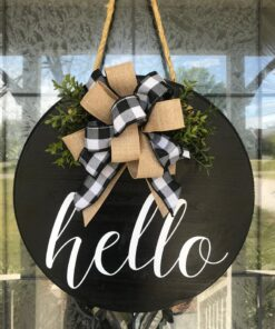 Hello Door Hanger Black