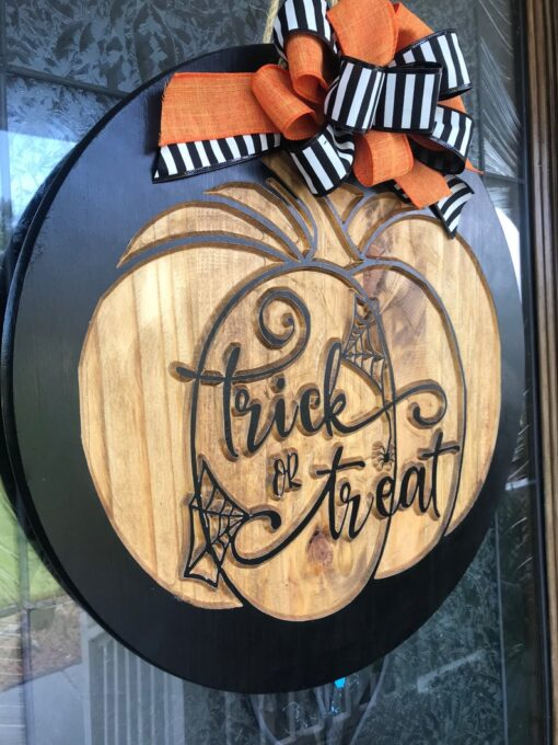 Trick or Treat Carved Wood Sign