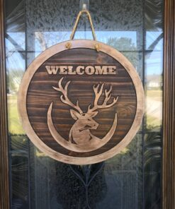 Carved Wood Deer Welcome Sign