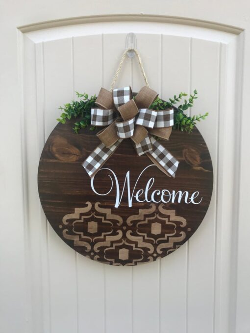 Welcome Door Hanger Stained Wood