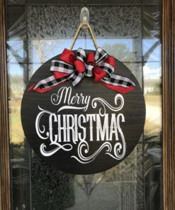 Merry Christmas Door Hanger Black