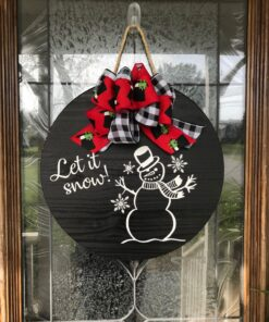 Let It Snow Snowman Sign Black