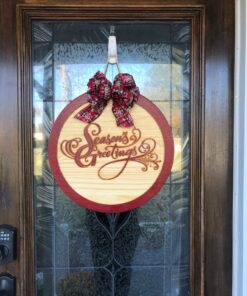 Seasons Greetings Carved Wood Sign