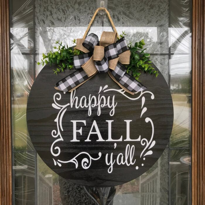 Happy Fall Y'all Front Door Sign Black