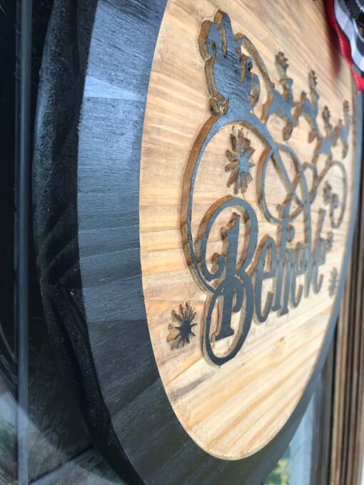 Believe Carved Wood Sign