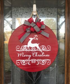 Merry Christmas Door Hanger Red