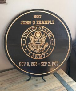 Military Service Plaque Carved Wood