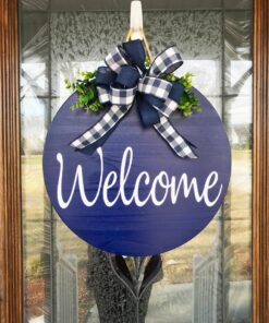 Blue Welcome Sign