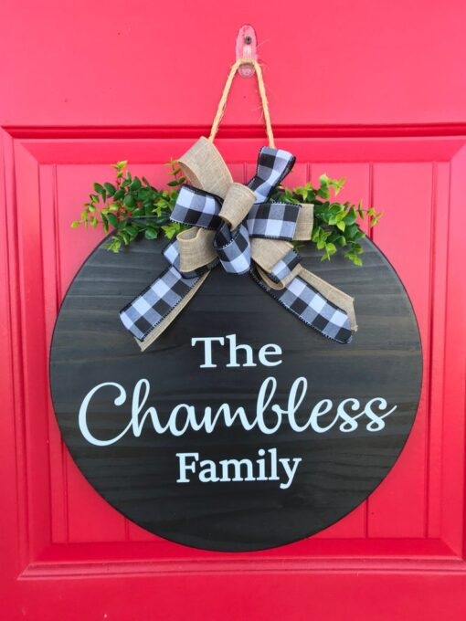 Personalized Front Door Sign Black