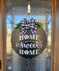 Home Sweet Home Paw Prints Door Hanger Black