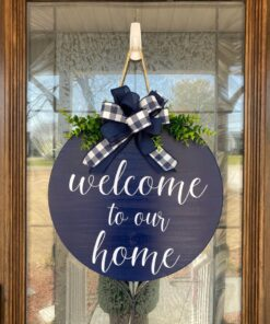 Welcome to our Home Door Hanger Blue