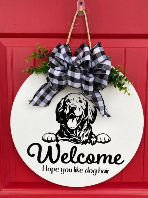 Golden Retriever Welcome Sign