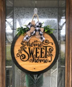 Carved Home Sweet Home Sign Black