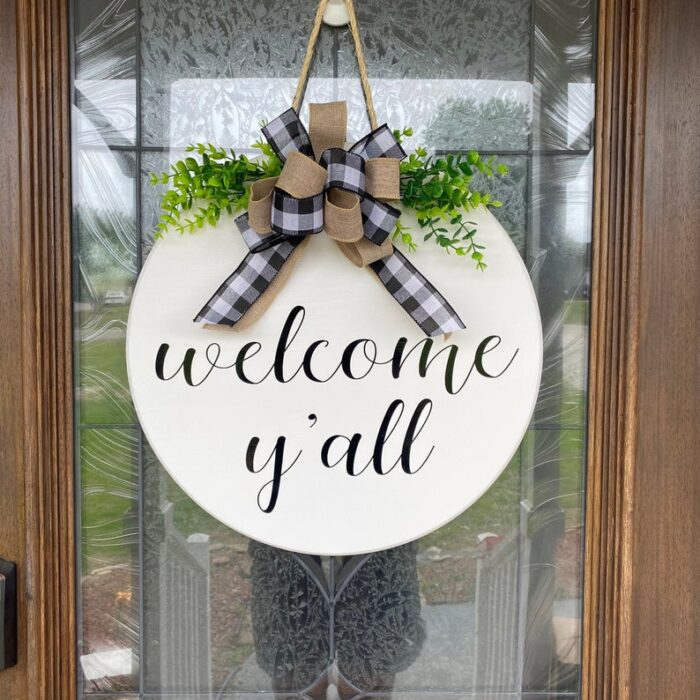 Welcome Y'all Sign White