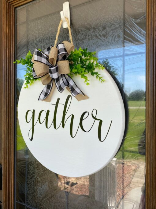 Gather Wood Sign White
