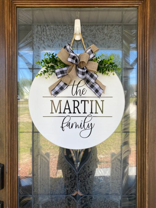 Personalized Family Name Sign White