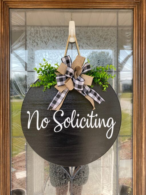 No Soliciting Sign Black
