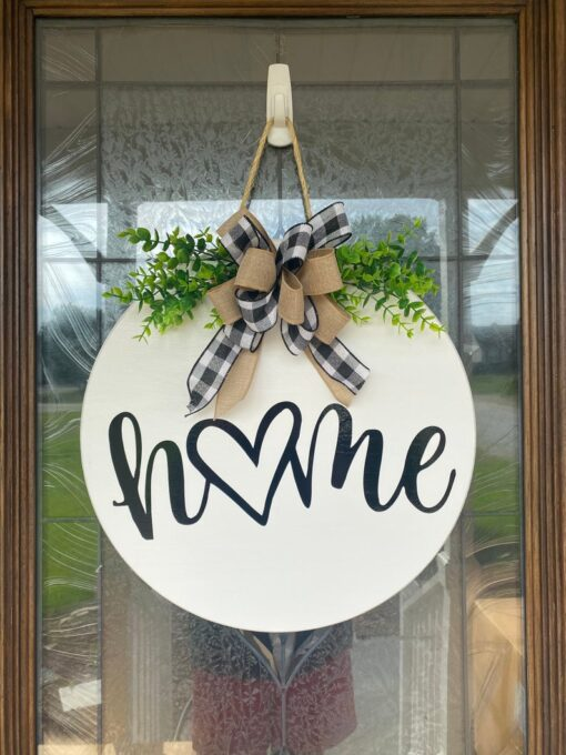 Home With Heart Wood Sign White