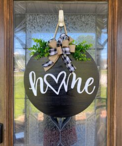 Home With Heart Door Sign Black