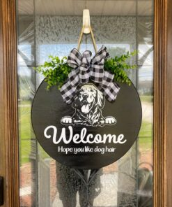 Golden Retriever Welcome Sign Black