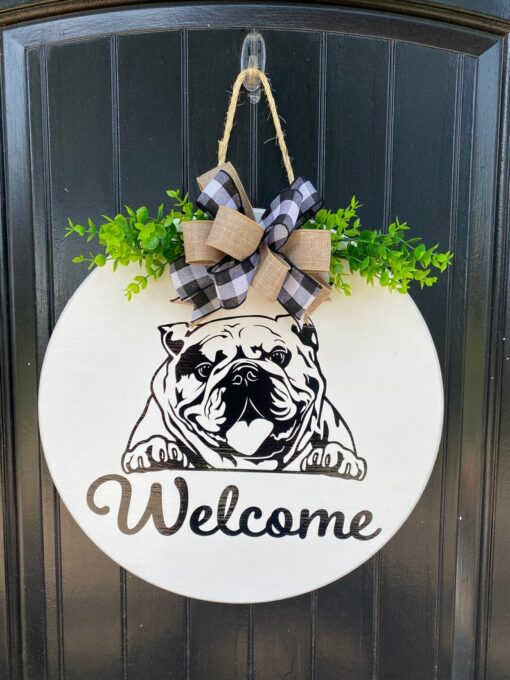 English Bulldog Welcome Sign