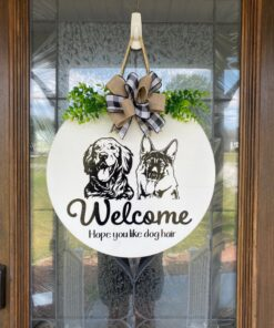 Golden Retriever and German Shepard Welcome Sign