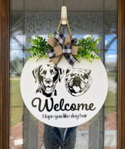 Labrador and Bulldog Welcome Sign