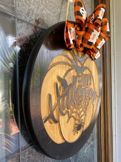 Happy Halloween Carved Wood Sign