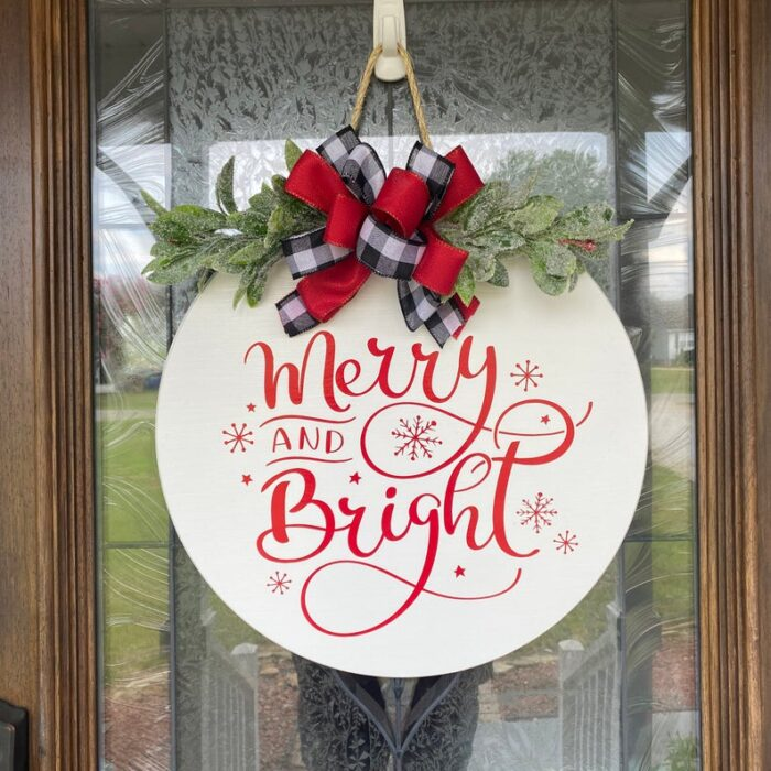 Merry and Bright Sign White