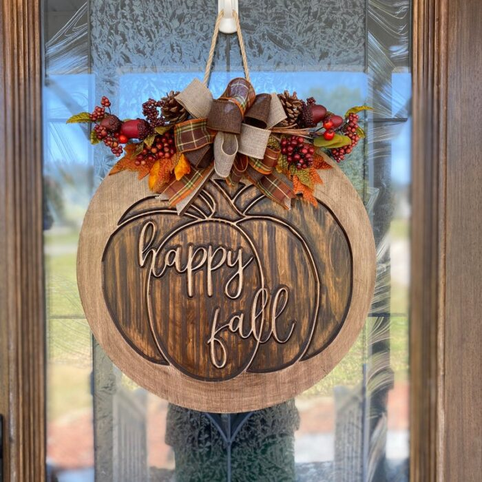 Happy Fall Carved Wood Sign
