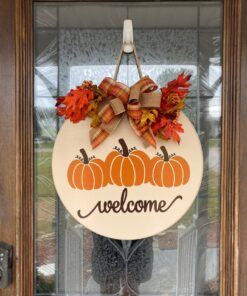 Pumpkin Welcome Sign Beige