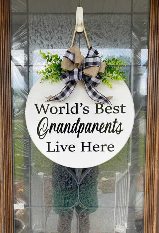 Worlds Best Grandparents Live Here Sign White