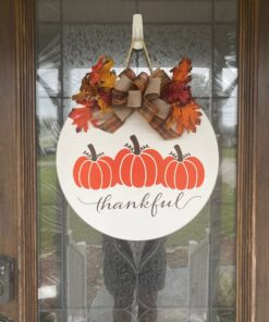 Thankful Front Door Sign White