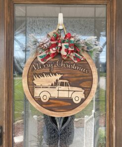Farmhouse Truck Carved Wood Christmas Door Hanger