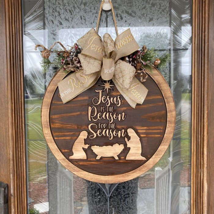 Jesus is the reason for the season Carved Wood Sign