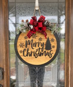 Merry Christmas Carved Wood Door Hanger
