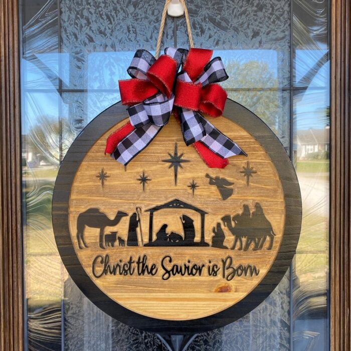 Nativity Carved Wood Sign