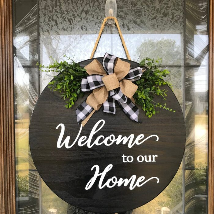 Welcome to our Home Sign Black