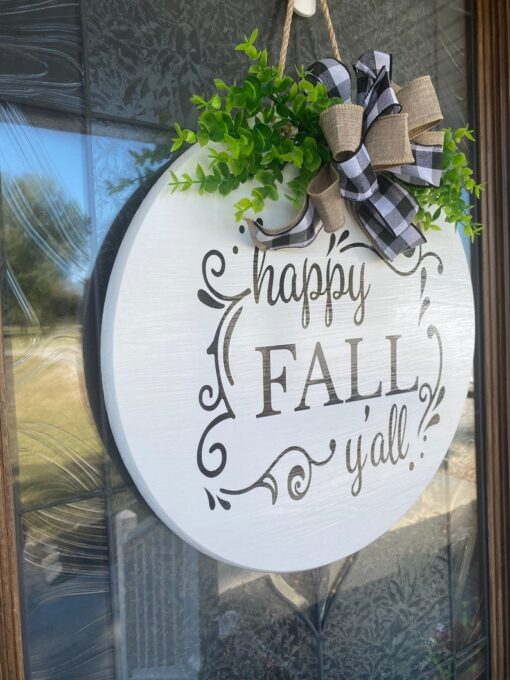 Happy Fall Y'all Front Door Sign White
