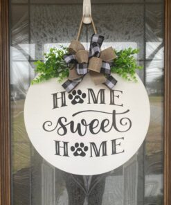 Home Sweet Home Paw Prints White