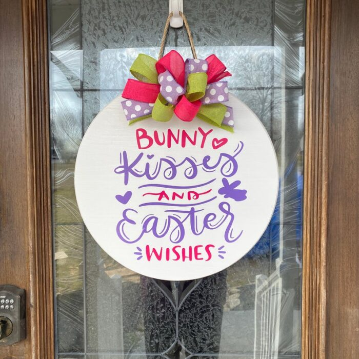 Bunny Kisses and Easter Wishes Sign White