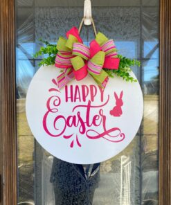 Happy Easter Door Sign White