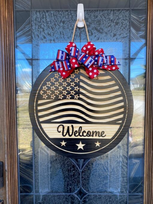 American Flag Carved Wood Sign