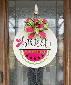 Summertime Watermelon Door Sign White