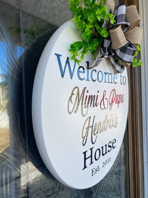Personalized Front Door Sign White