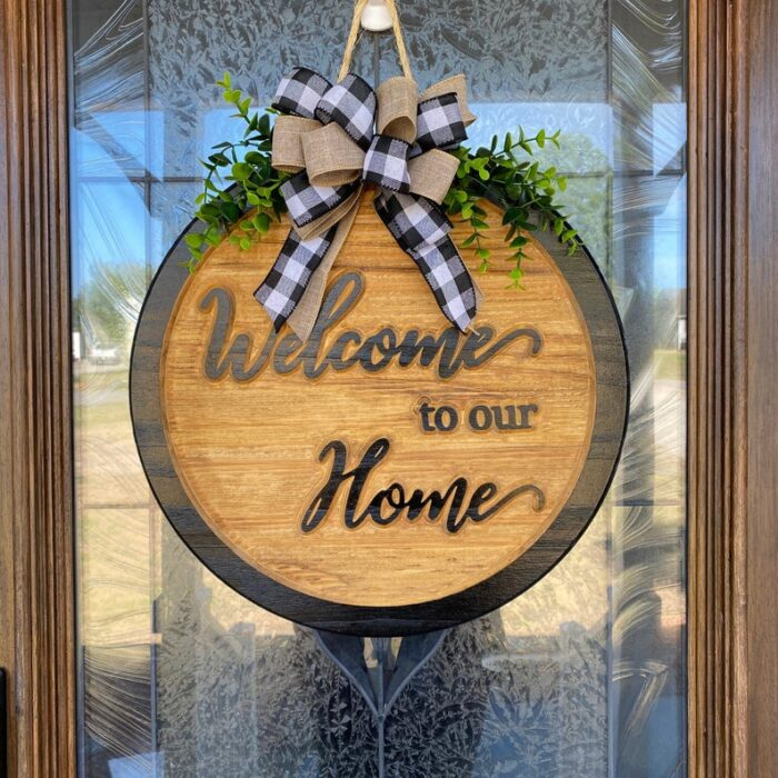 Welcome to our Home Carved Wood Sign