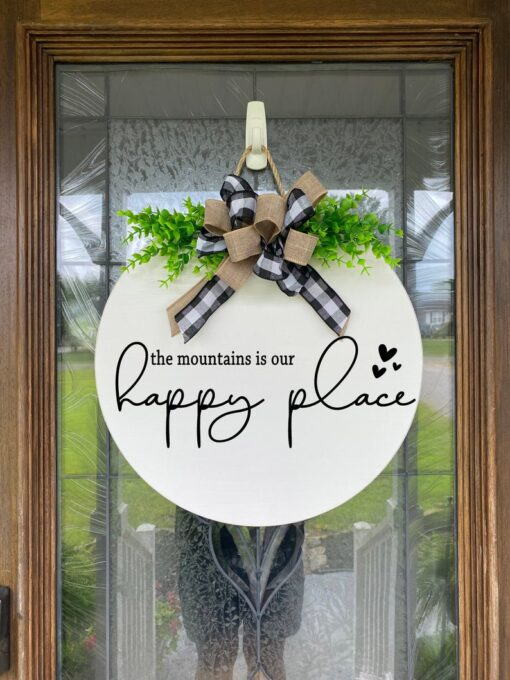 The mountains is our happy place door hanger